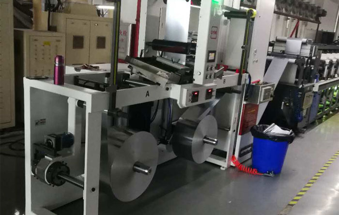 DINGYU Non-Stop Unwinding and Rewinding machine improve Meiqi smart printing Co., Ltd. Gallus printing machine